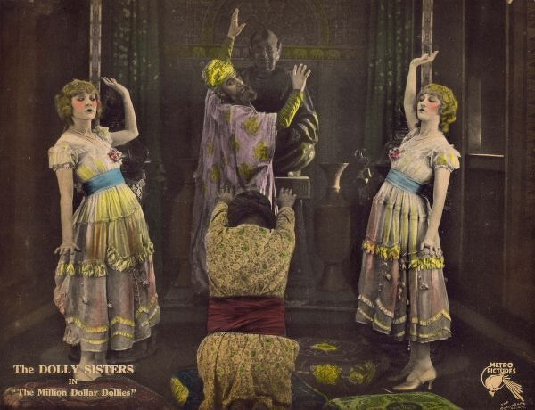 Advertising lobby card (2 of 2) for the film The Million Dollar Dollies starring the Dolly Sisters, 1918