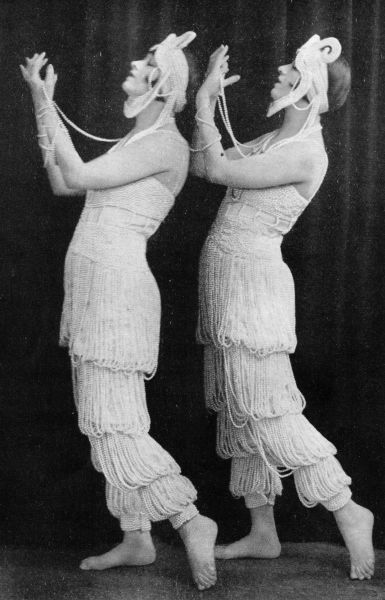 The Dolly Sisters wearing their Ciro pearl in League of Notions, London, 1921