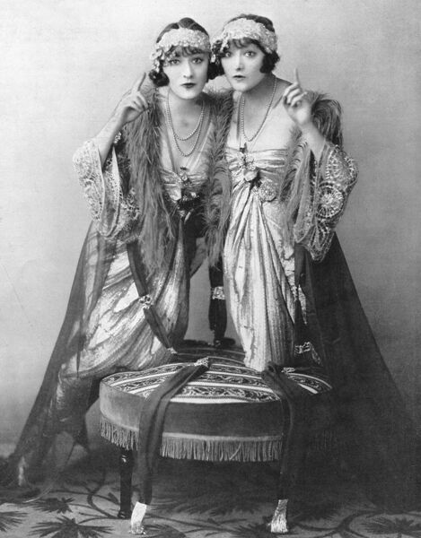 The Dolly Sisters wearing Lucile gowns in the I Love Thou Lovest number, League of Notions, London, 1921