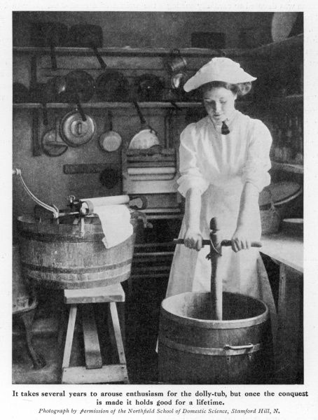 A laundry worker using a dolly stock and tub to clean clothes, prior to the invention of the washing machine