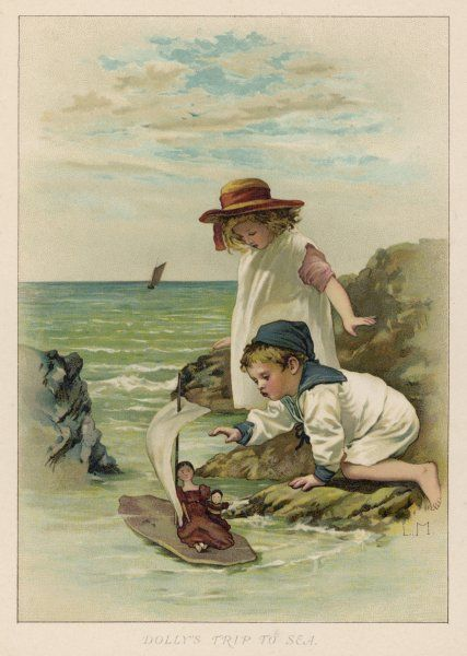 A little girl watches apprehensively as her doll sets out to sea on her brother's boat : will she be wrecked, or swept out into the open sea and lost forever ?