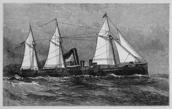 American despatch boat, with sails as well as its steam engines