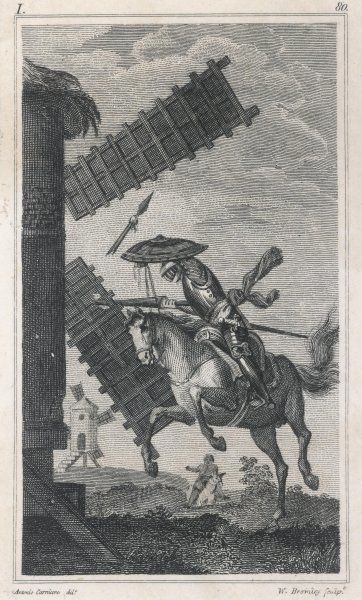 A scene from Cervantes' novel Don Quixote -- the hero of the title attacks a windmill, believing it to be an enemy giant