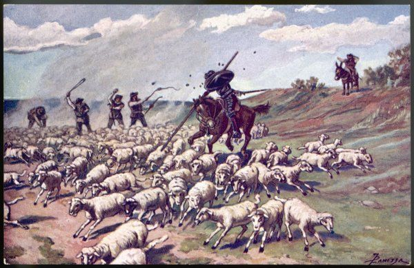 A scene from Cervantes' novel Don Quixote -- the hero of the title encounters a flock of sheep and thinks they are an approaching army