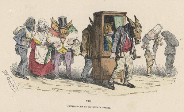 Donkeys carry a bull in a sedan chair, while other animals carry burdens on their backs