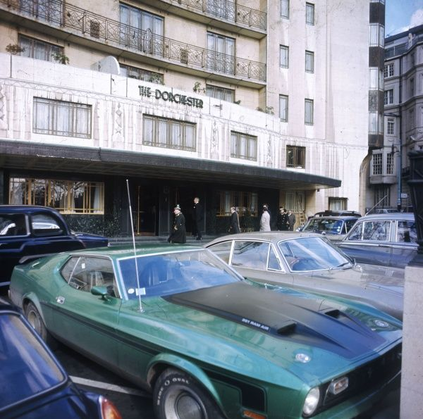 The exterior of the Dorchester Hotel, in exclusive Park Lane, London. Date: 1972