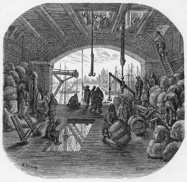 Dockers handling barrels and bales in a warehouse from which, if they raise their eyes, they can see a distant prospect of St Paul's