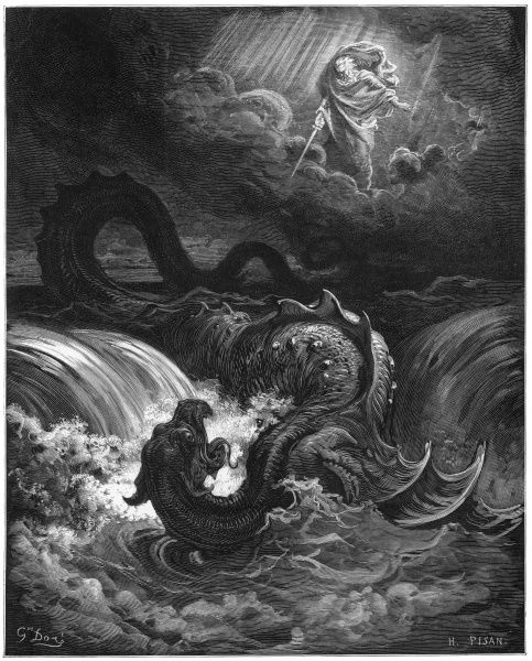 Dore's interpretation of the combat between God and the sea dragon Leviathan that will take place in the end times, as described by Isaiah