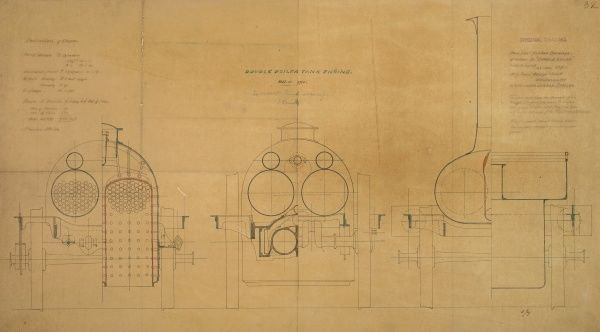 Double boiler tank engine, front elevation and sections Date: 1850