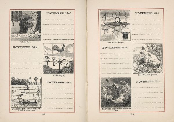 A double page spread in a young person's diary for 22-27 November. Each day is given a small illustration, relating either to the season, or to the anniversary of an historical event