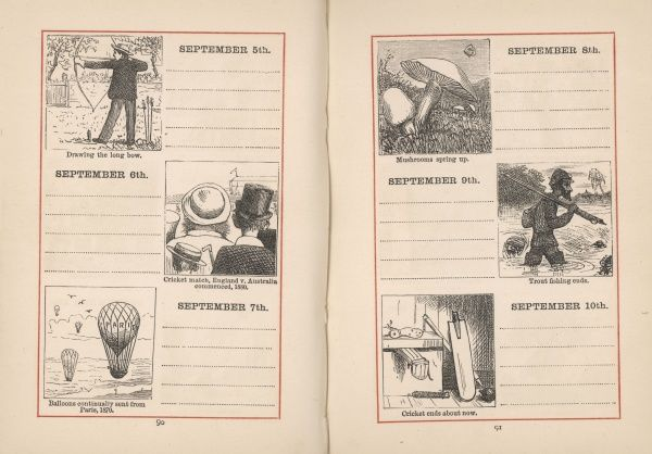 A double page spread in a young person's diary for 5-10 September. Each day is given a small illustration, relating either to the season, or to the anniversary of an historical event