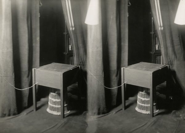Undated double photograph (ie, two copies of the same picture on one photograph) of the counterpoise table used in Rudi Schneider sances