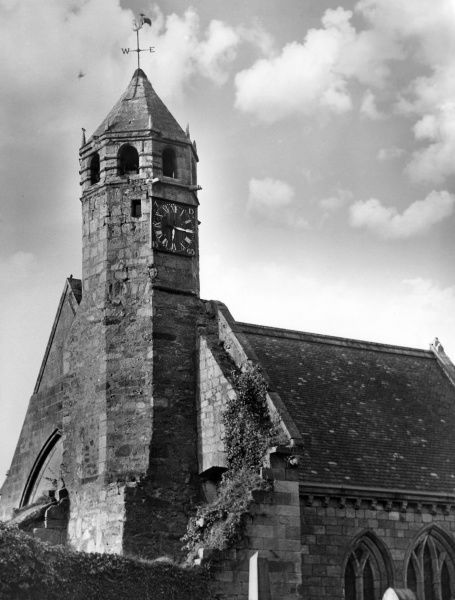 The church at Douglas Water, Lanarkshire, Scotland. In the tower is a unique clock, presented to Douglas by Mary, Queen of Scots in 1565. Date: 1960s photo