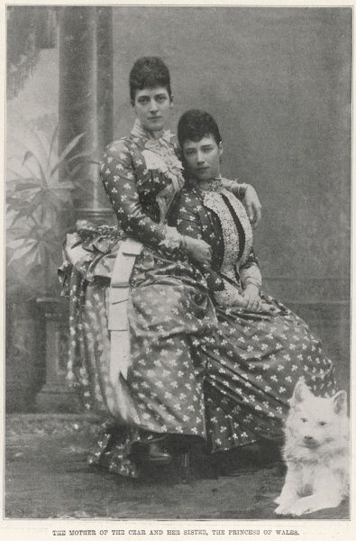 Queen Alexandra of Great Britain, wife of King Edward VII (1844-1925), with her sister, the Empress Maria Feodorovna of Russia, formerly Princess Dagmar of Denmark (1847-1928)