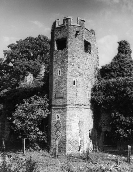 The Tower of the old Dower House, a ruined lodge in Fawsley Park, Fawsley, Northamptonshire, England. Date: 17th century