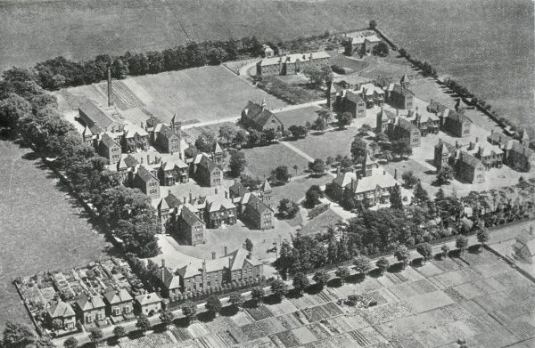 Aerial view of the Downs Children's Hospital on Banstead Road, Sutton, Surrey, originally opened in 1883 as part of the South Metropolitan District School for pauper children. The site was acquired by the Metropolitan Asylums Board in 1902