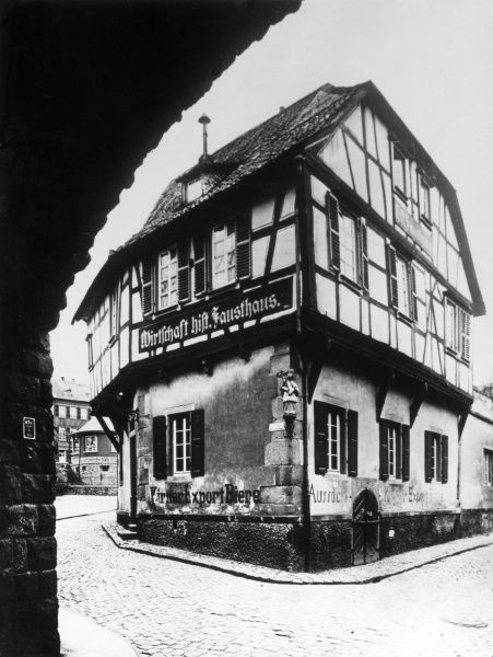 DR. JOHANN GEORG FAUST This house, the 'Fausthaus' at Bad Kreuznach, near Arheim, Germany, was where the real life magician and alchemist Dr. Faust lived. Date: 1480 ? - 1540