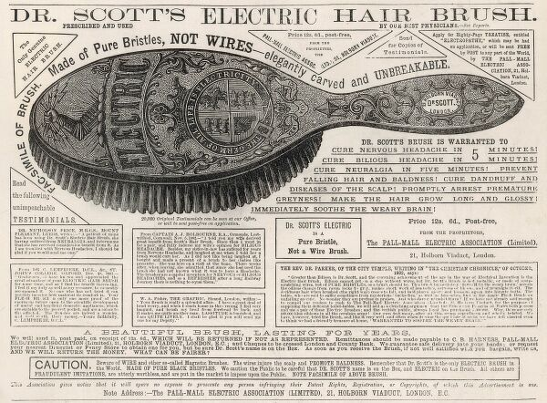 Advertisement for 'Dr. Scott's Electric Hair Brush', 1883. This advert claimed the brush could cure headaches, neuralgia, baldness, dandruff and 'Immediately soothe the weary brain&#39