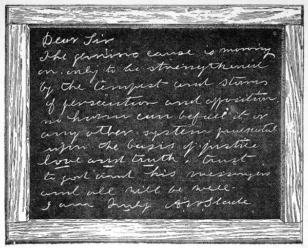 A message from the spirits: a sketch of a slate showing a message from Dr Slade's deceased wife. Slade first practised his spirit communication in America before travelling to England where he gave seances from is lodgings in Russell Square, London