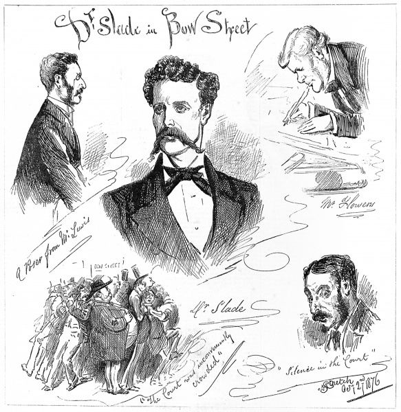 Sketches of the trial of Henry Slade, showing Slade in the centre. Slade first practised his spirit communication in America before travelling to England where he gave seances from his lodgings in Russell Square, London. Word spread quickly of his talents