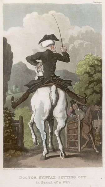 Rear view of Doctor Syntax on his horse, as he sets out in search of a wife
