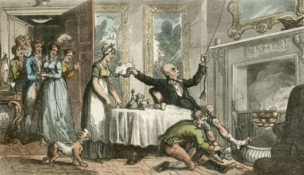 To the amusement of the residents, Dr Syntax mistakes the hospitality of the private house for a common inn. Date: 1813