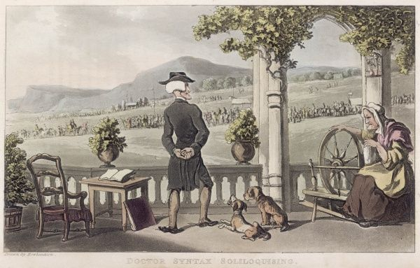 Doctor Syntax gazes out at the countryside and soliloquises, while two dogs sit listening to him and an old woman spins
