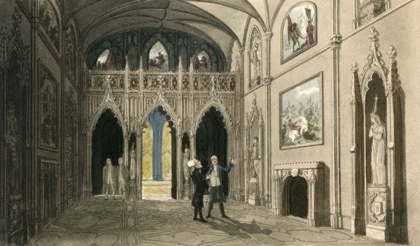 Dr Syntax is being shown a grand painting in a large rooom of Eaton Hall, Cheshire. Date: 1820