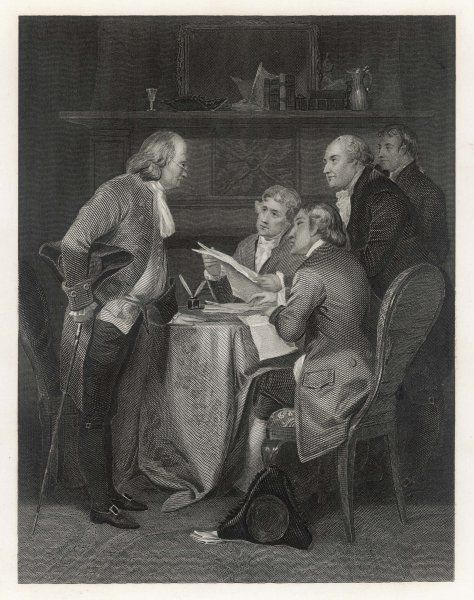 Scene at the Drafting the American Declaration of Independence - present are Franklin, Jefferson, Adams, Livingston and Sherman