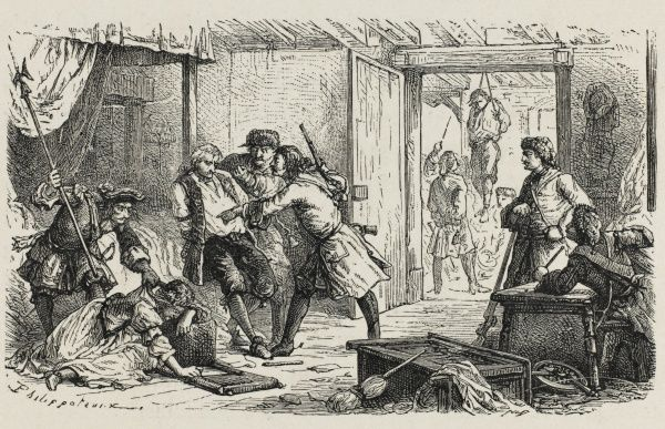 After the revocation of the Edit de Nantes, which promised religious toleration, French protestants are officially persecuted in the infamous 'dragonnades&#39