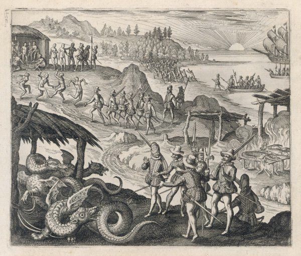 The Spanish conquistadors find dragons in America ; the natives catch and cook them