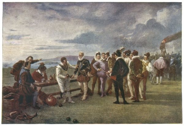 Sir Francis Drake, learning that the Spanish Armada has been sighted near England, insists on finishing his game of bowls at Plymouth