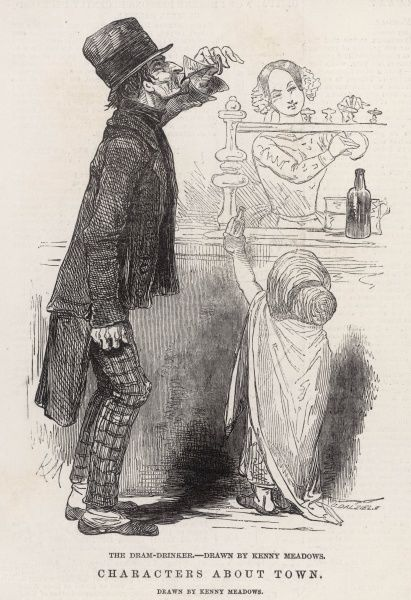 A scruffy dram drinker keenly slurps on a glass of gin at one of London's many gin palaces; the engraving accompanies an article highlighting the depravity of the gin palace in Victorian society: 'Poverty and misery, and a want of the