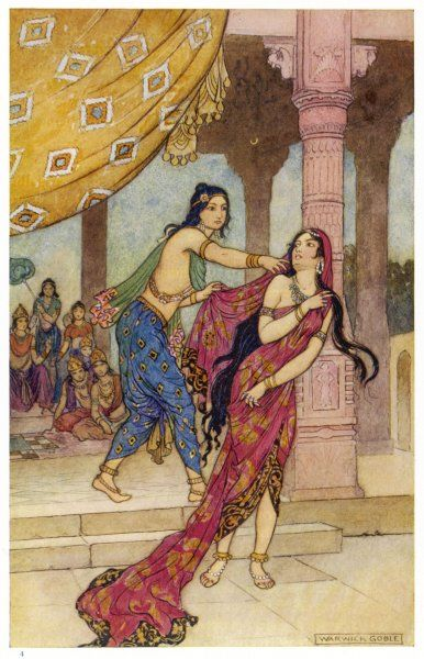 DRAUPADI, the polyandrous wife of the Katava brothers, is attacked by prince DUHSASANA who drags her into the sabha (assembly) where the fatal dice-game is played