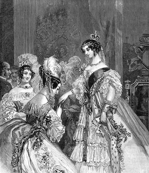 A newly-crowned Queen Victoria shown receiving her subjects in a drawing room scene of 1837