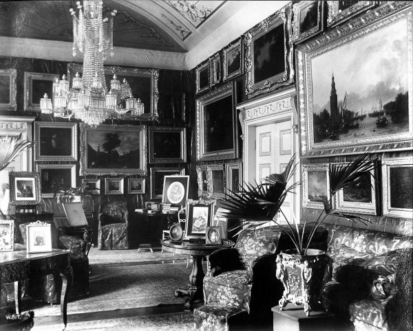Photograph showing one of the drawing rooms in Apsley House, London, sometime during the 19th century. Apsley House was the home of the 1st Duke of Wellington following his famous victories in the Napoleonic Wars