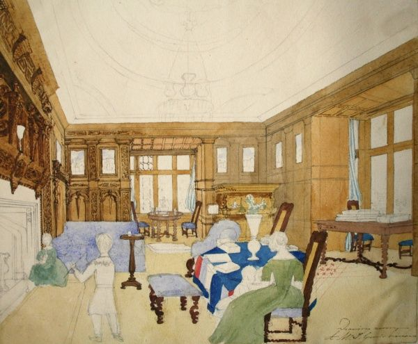 Drawing room in A.W.T. Green's house. Date: circa 1840s