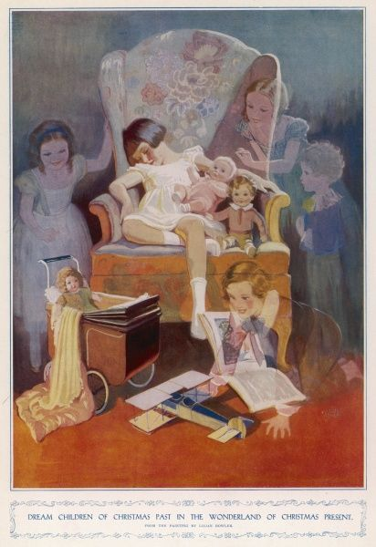 Little girl asleep amongst her toys, dreaming of children from different eras. From the painting by Lilian Rowles