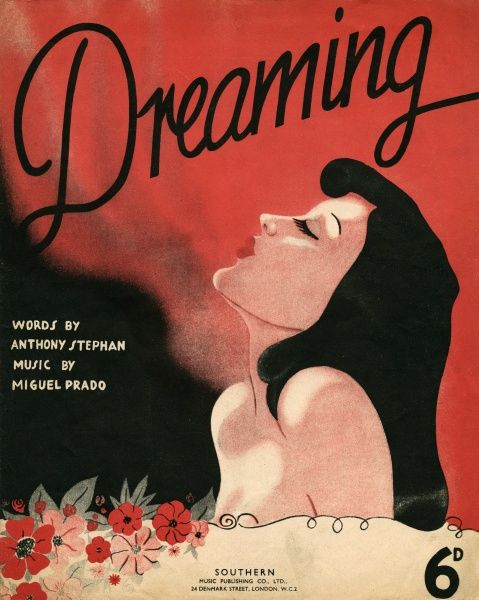 A very fine music cover for 'Dreaming' by Anthony Stephen and Michael Prado, depicting a glamorous woman drifting off into the magical world of her thoughts