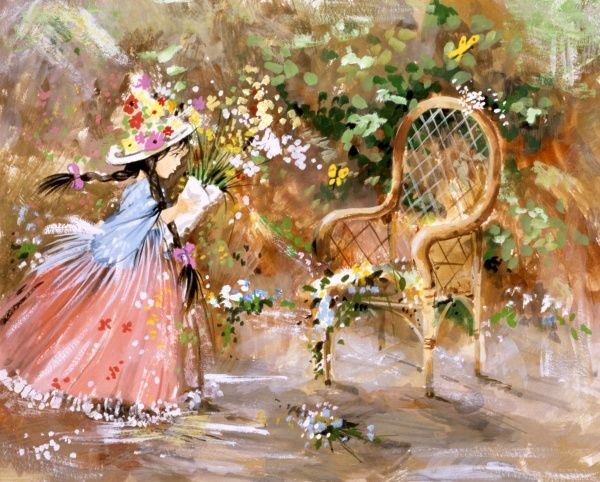 A young girl festooned with flowers holding a bouquet, stands alongside a whickerwork chair. Painting by Malcolm Greensmith