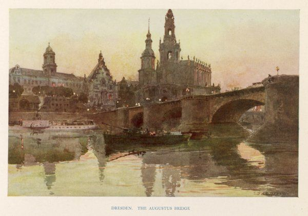 Dresden: Augustus Bridge with the Roman Catholic Hofkirche on the right