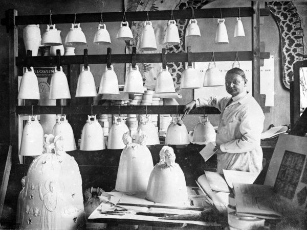 Bells being manufactured in Dresden, Germany, to build a carillon (a musical instrument made of bells which play in a chromatic sequence) which will play in a Berlin park. Date: 24 January 1930