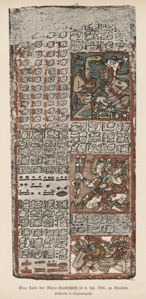 Part of the Mayan manuscript known as the Dresden Codex : the illustrations appear to show gods and demons