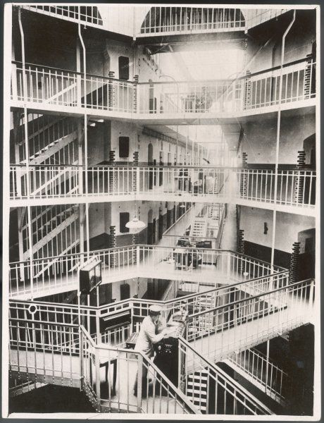 The interior of a prison in Dresden, Germany, which in its day was one of the most up-to- date in Europe. The central tower was built so that one person could watch 800 inmates