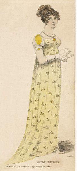 A yellow printed muslin gown or possibly white muslin worn over a yellow slip. Accessories: short white gloves, fan, gold armlets and maltese cross pendant
