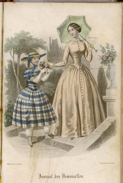 Dress with a plain skirt that buttons up the centre, jacket / caraco corsage buttoned high to the neck, tight sleeves, frill at neck & cuffs, green parasol
