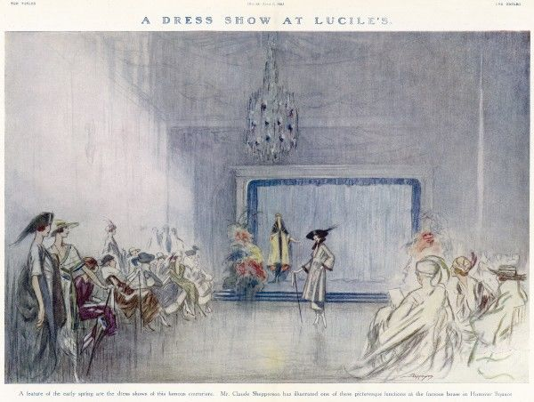 A fashion show at Lady's Duff Gordon's fashion house at Hanover Square, London