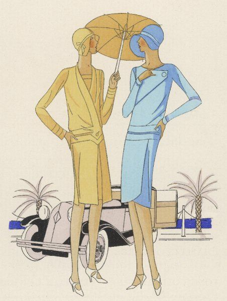 Two women wear creations by Chantal of Paris - one a woollen serge tailor-made for morning wear, her companion a day frock in two shades of crepe de Rome