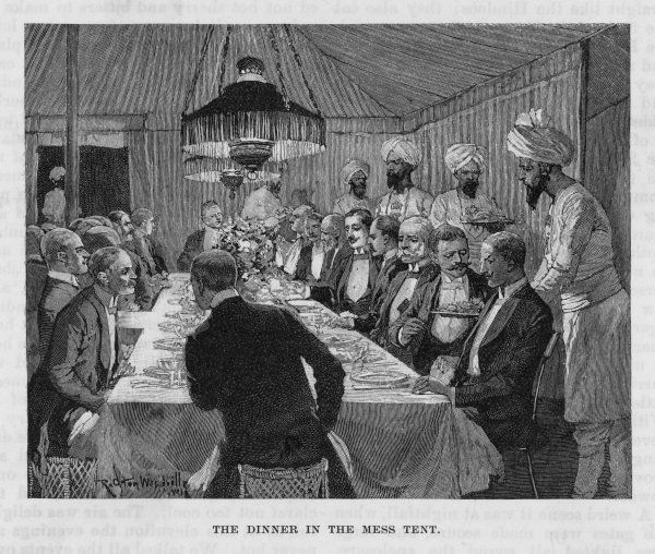 British officers wear formal evening dress, in all its glory, to consume their evening meal in a mess tent after a day spent hunting elephants in Mysore