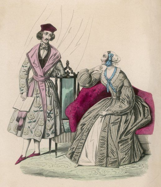Dressing gowns. Man: rose print gown, pink lapels & sash, velvet hat & gothic style slippers. Woman: vertical striped gown, full sleeves with tight cuff & yoke